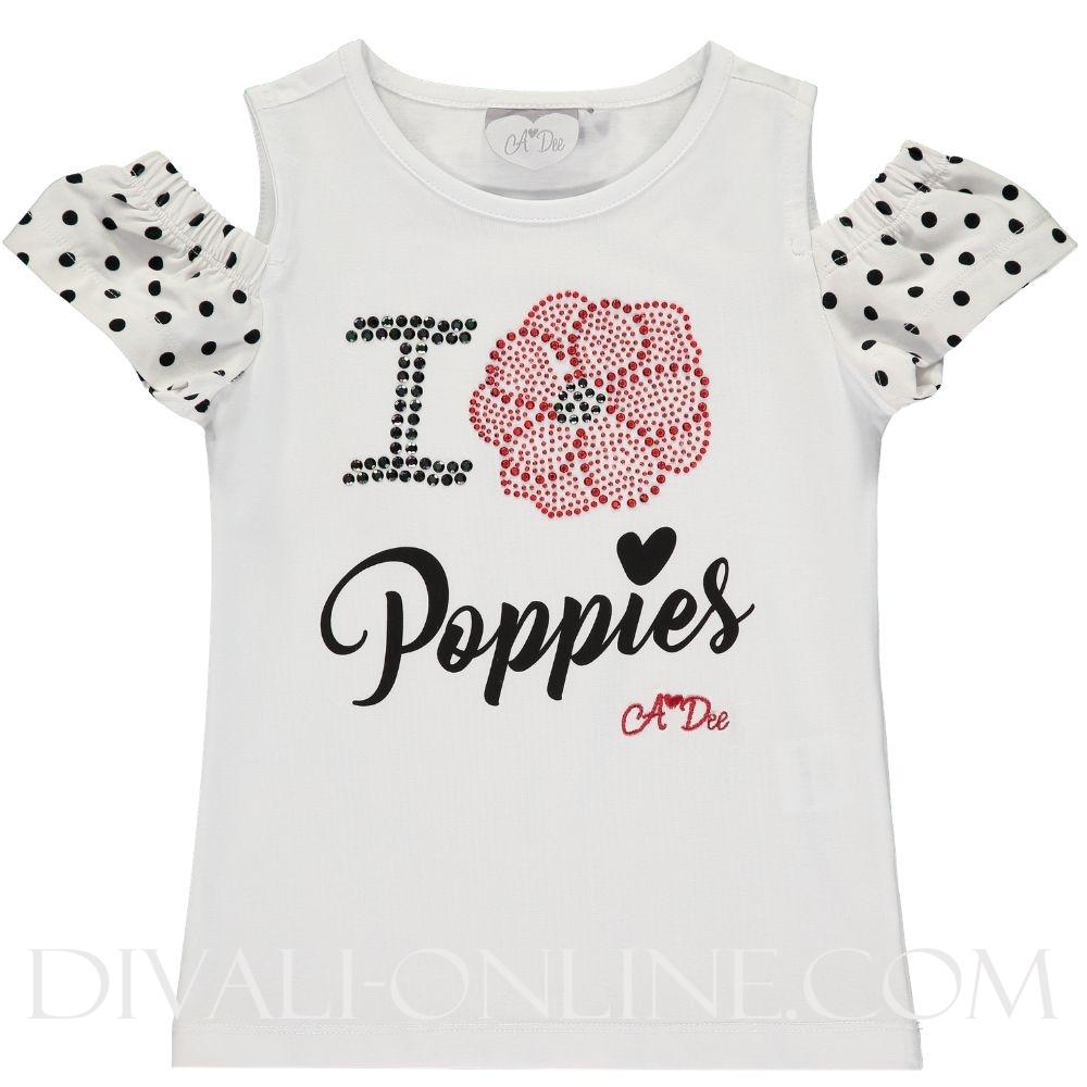 Cold Shoulder Poppies T-shirt Adaline 1001 Bright White
