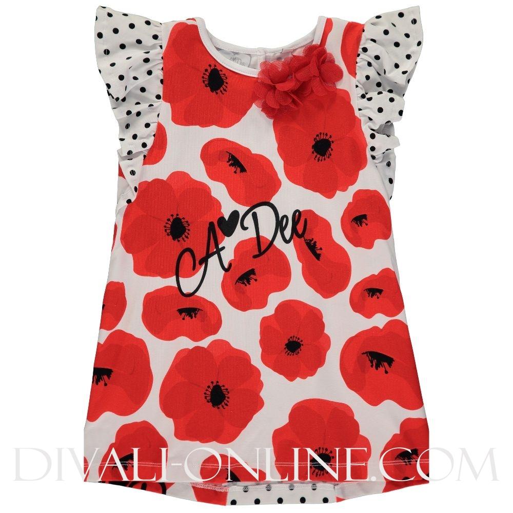 Poppy Print Tunic Set Aggi Poppy Red