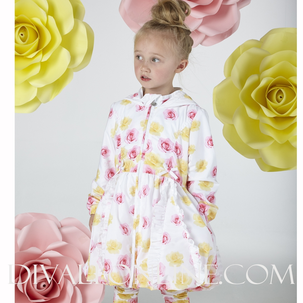 Rose Print Hooded Jacket Barbara 1001 Bright White