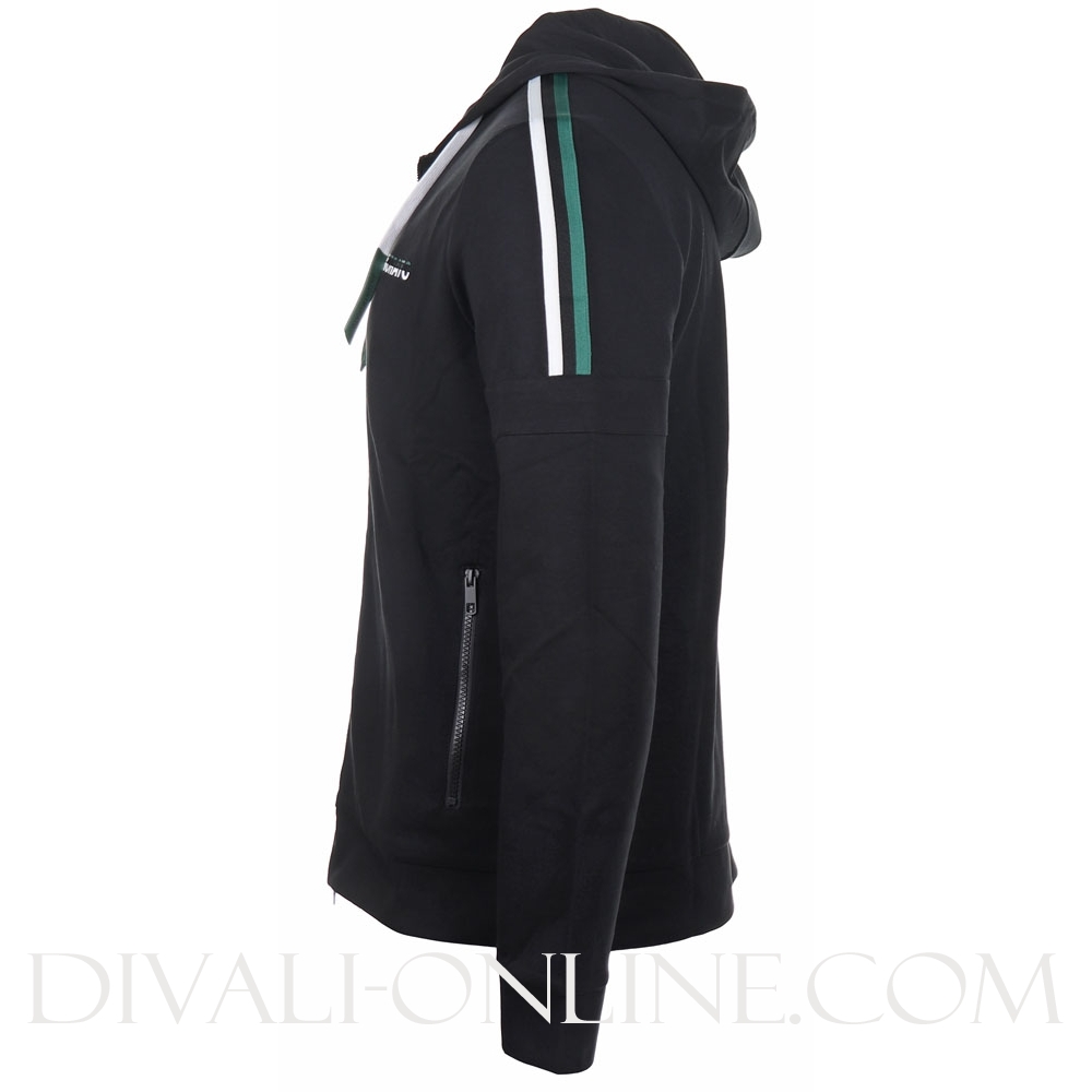 Hoodie Plastic Logo Zip And Striped Tape On Shoulder