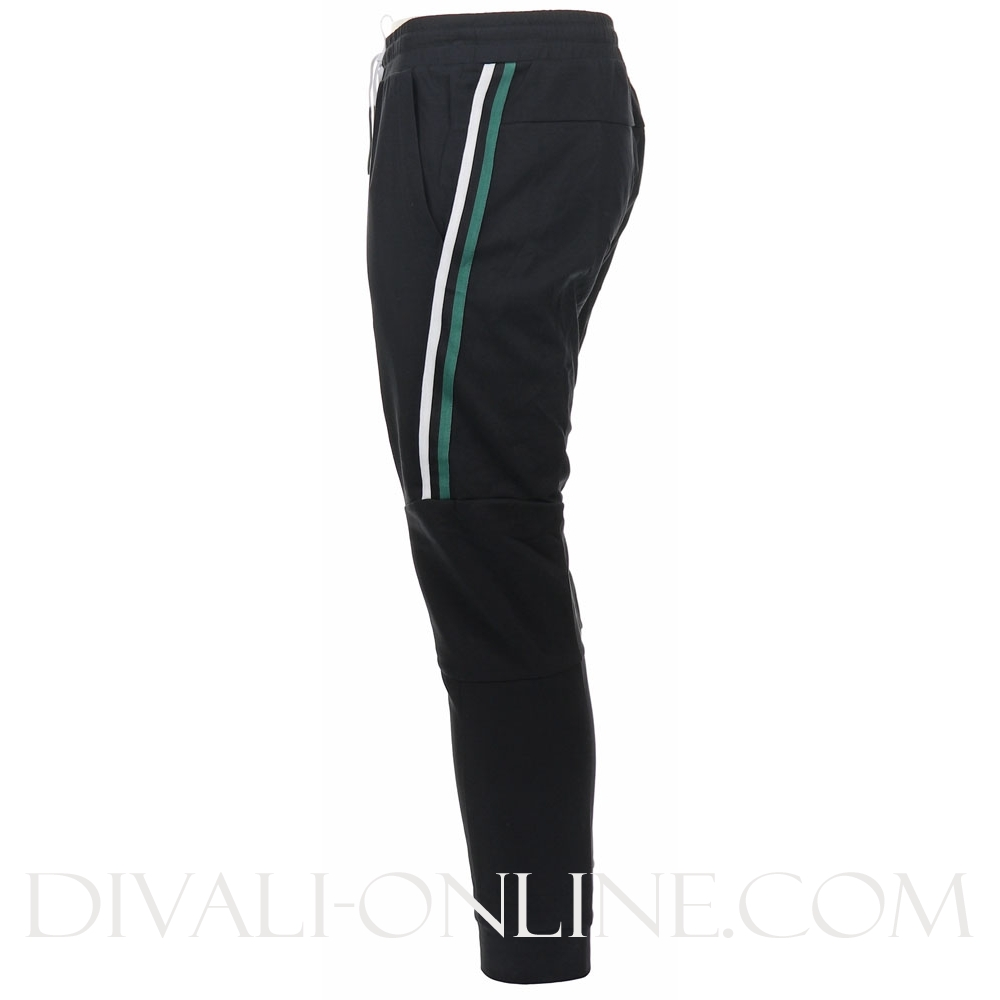 Joggingpants With Striped Tape And Back Print Black