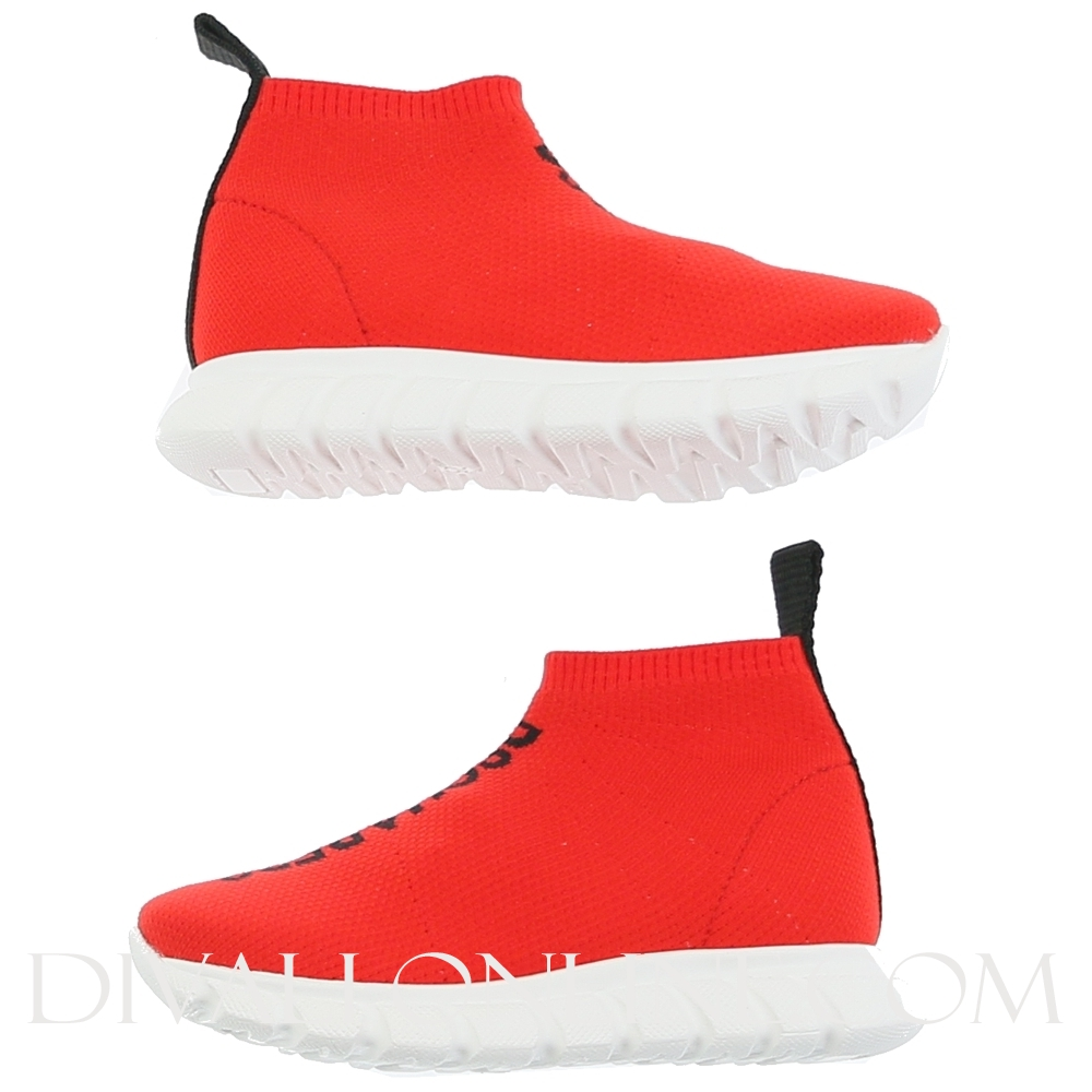 Mid Top Sock Trainers Red/black Logo