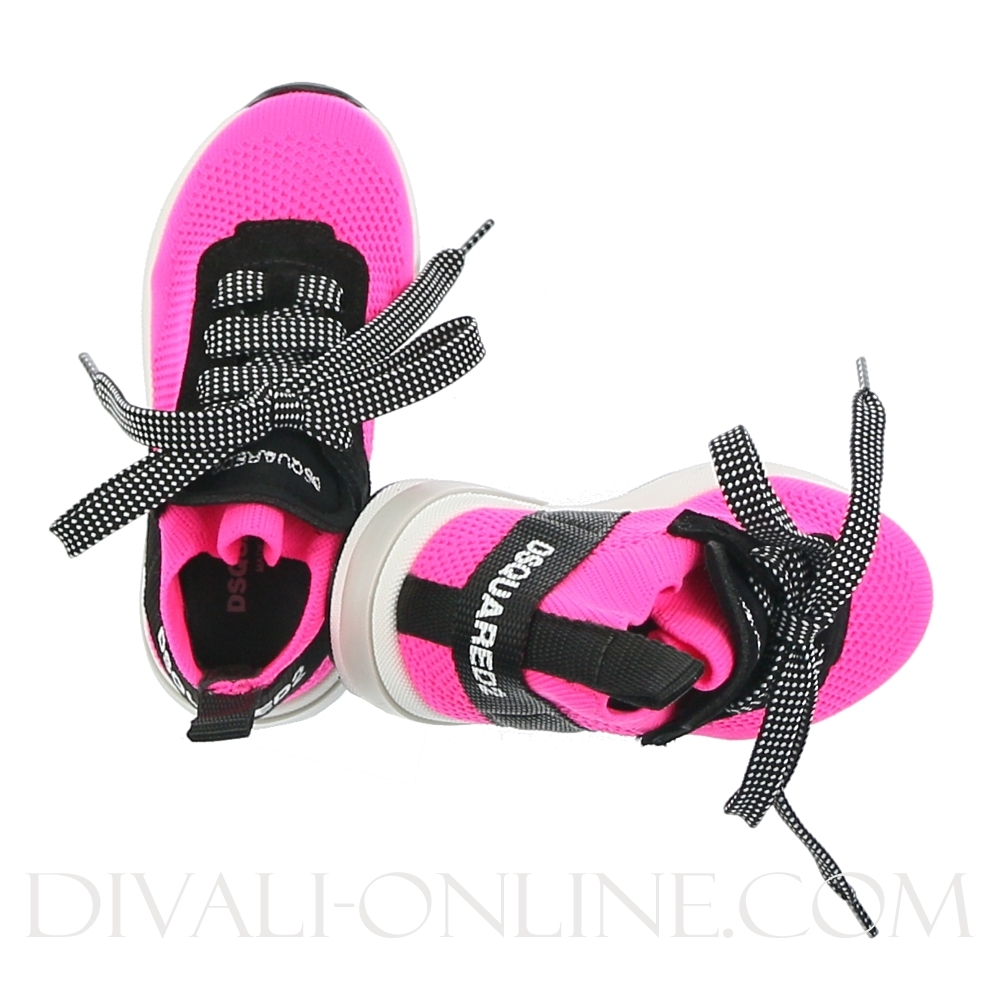 Mid Top Lace Up Trainers Neon Fuxia/black
