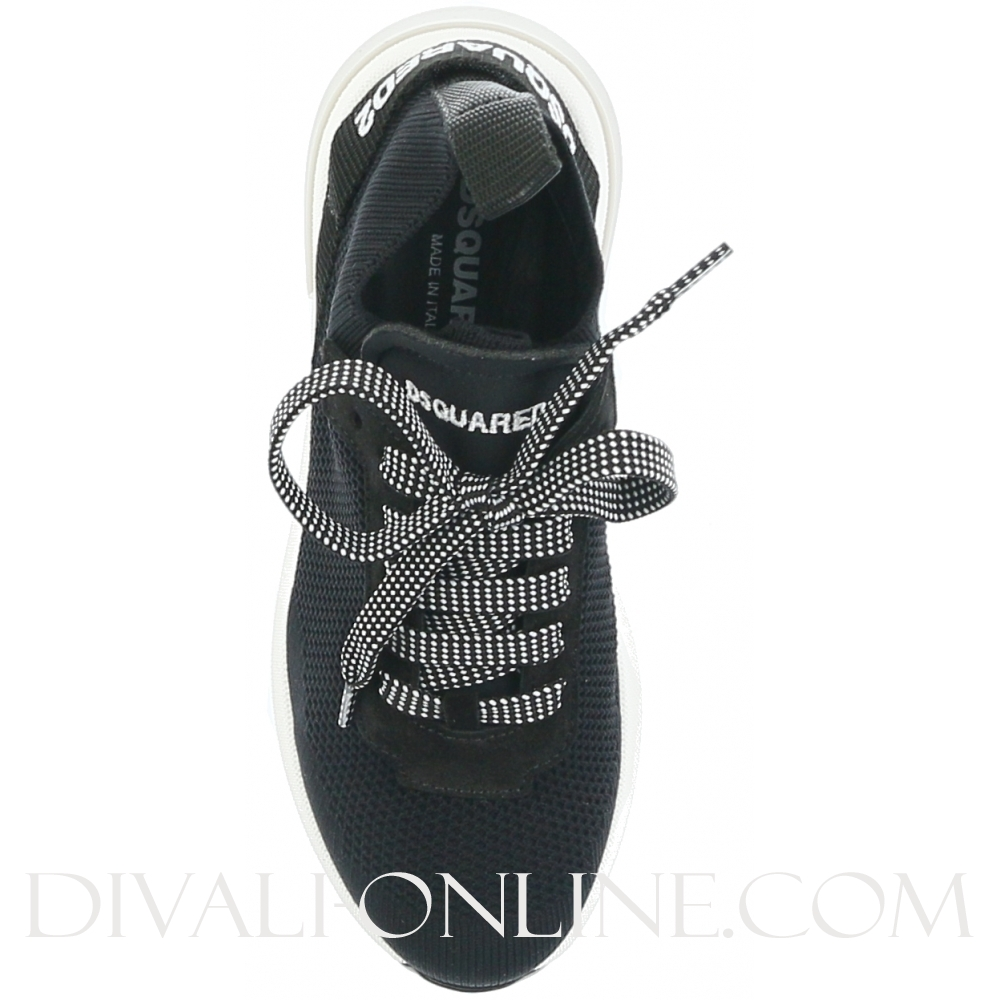 Mid Top Lace Up Trainers Black