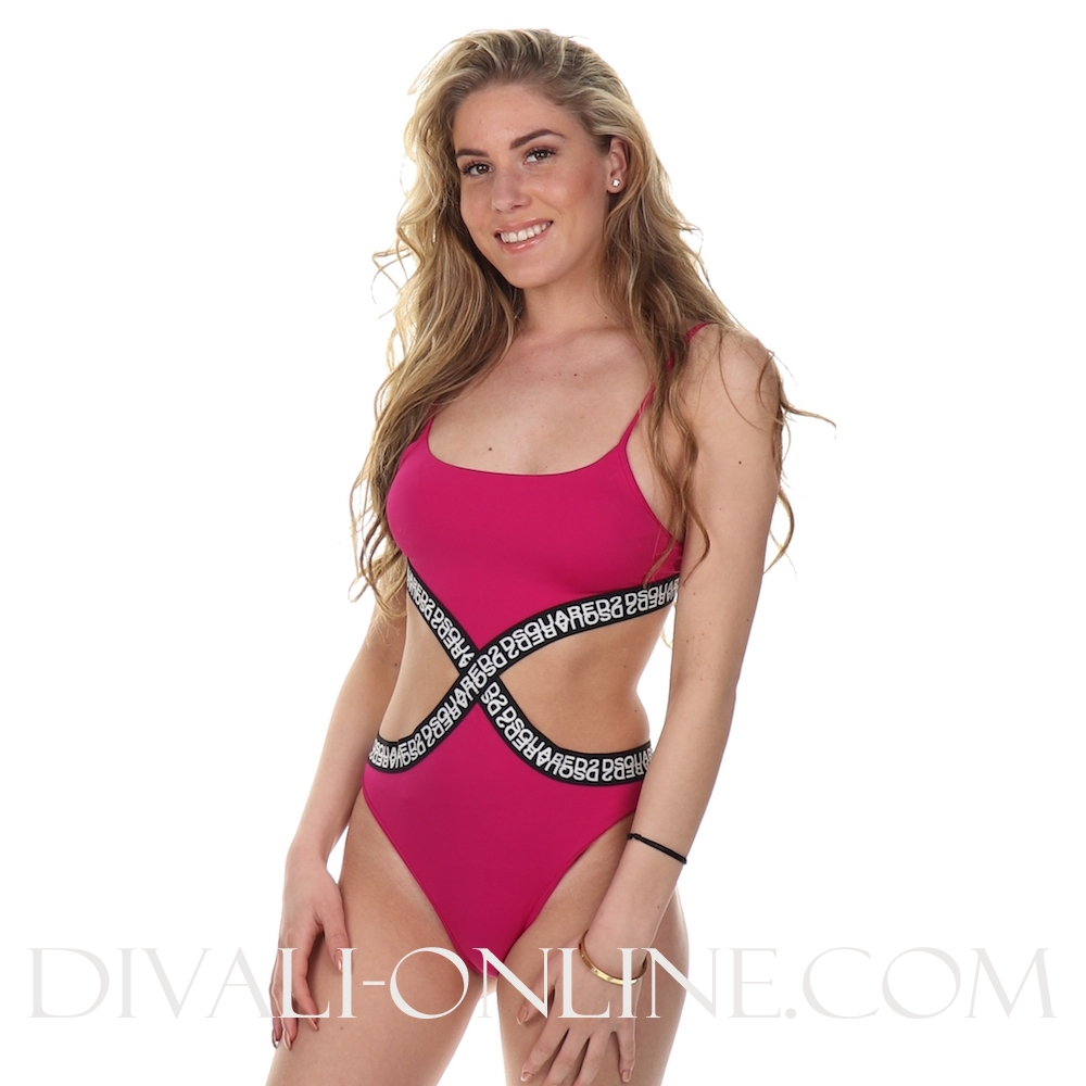 One Piece Dsquared2 Logo Fuxia
