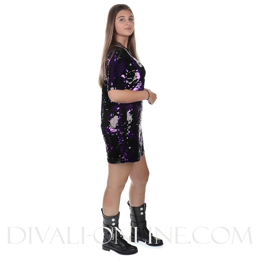 Jurk Sequins Palm Black And Purple Pal