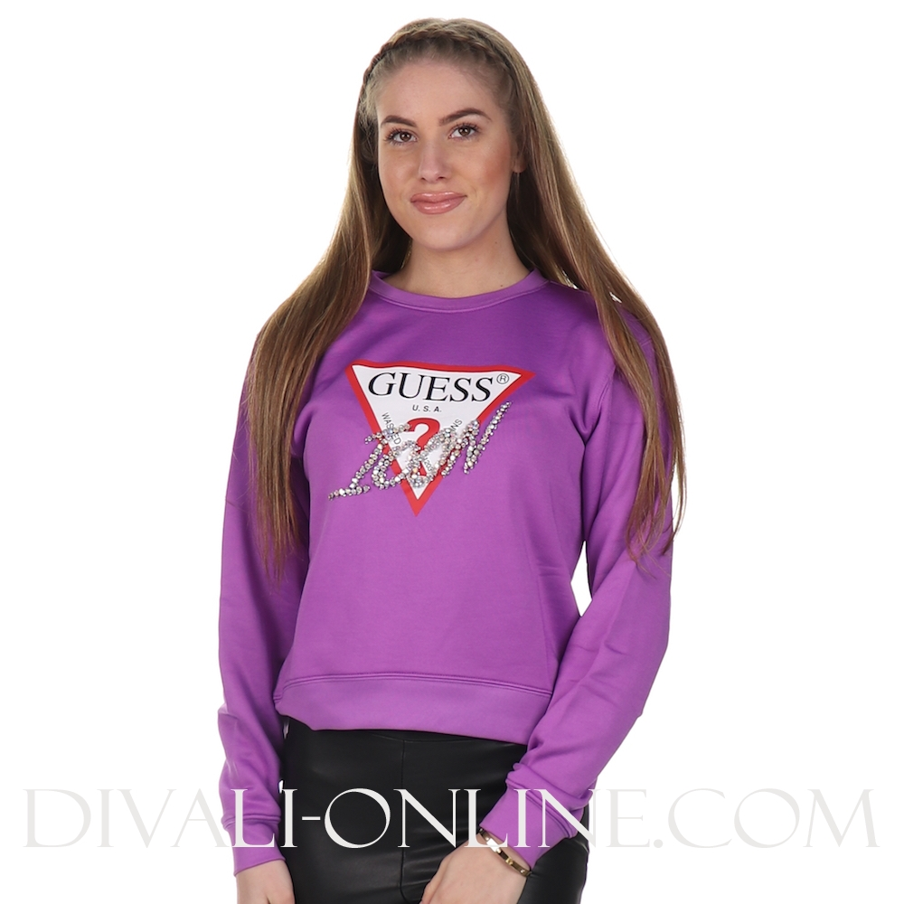 Sweater Basic Triangle Fleece Top Violet