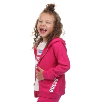 Guess Kids Hooded Active Top W/zip Rouge/shocking Pink
