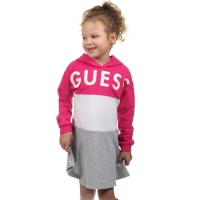 Guess Kids Hooded Fleece Dress Rouge Pink