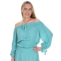 Jacky Luxury Top Off-shoulder Turquoise