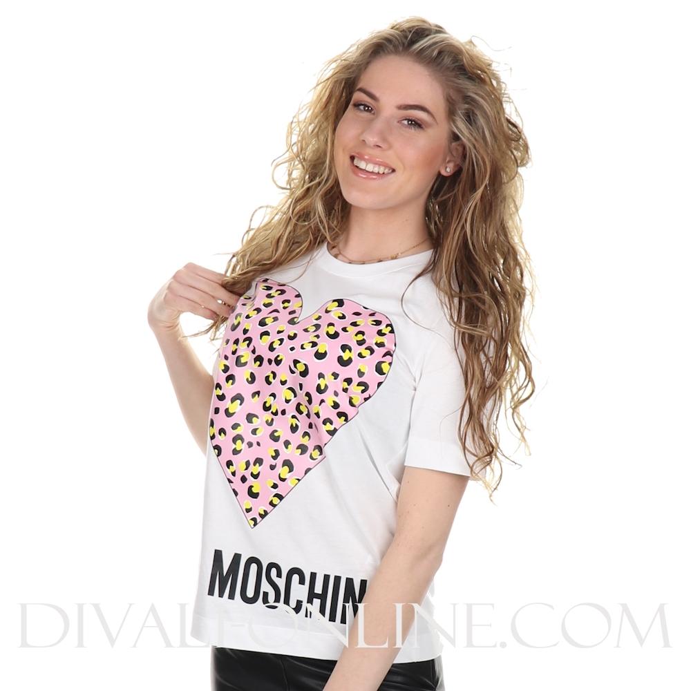 T-shirt Heart Leopard Optical White