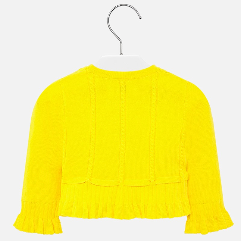 Knit cardigan with flounces yellow