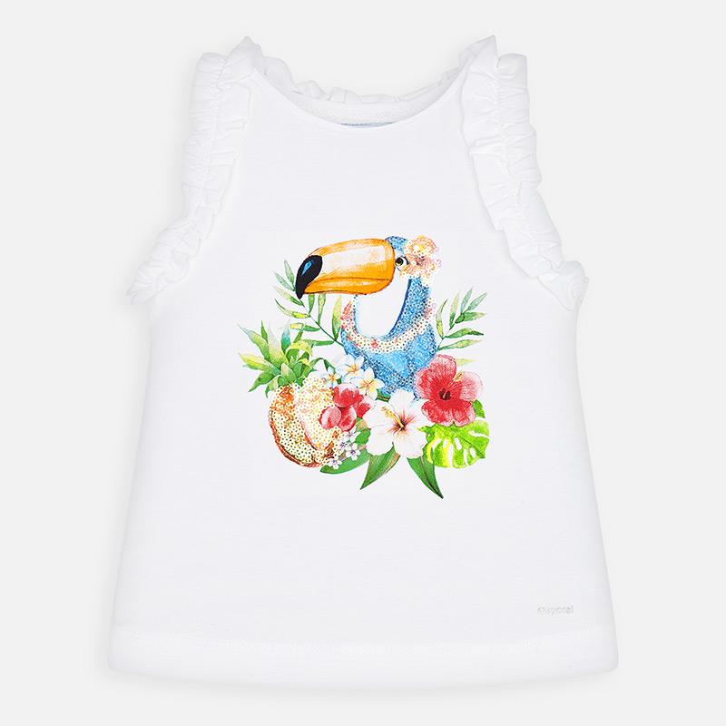 Sleveless tucan shirt white