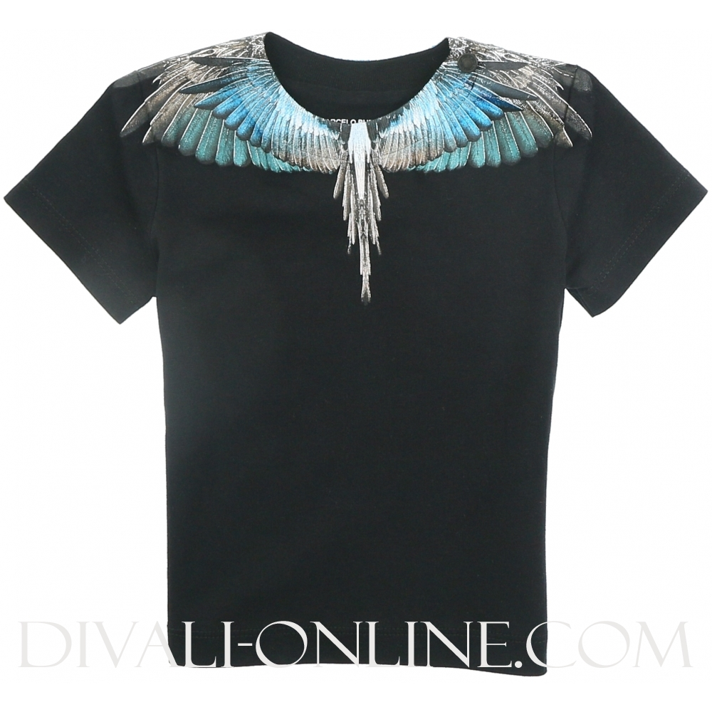 wings Turquoise t-shirt Black