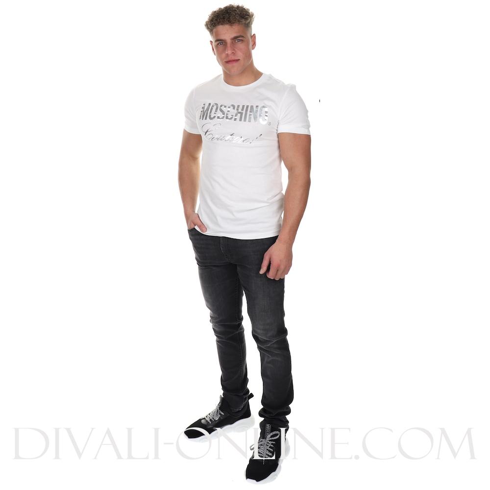 T-shirt Silver print White