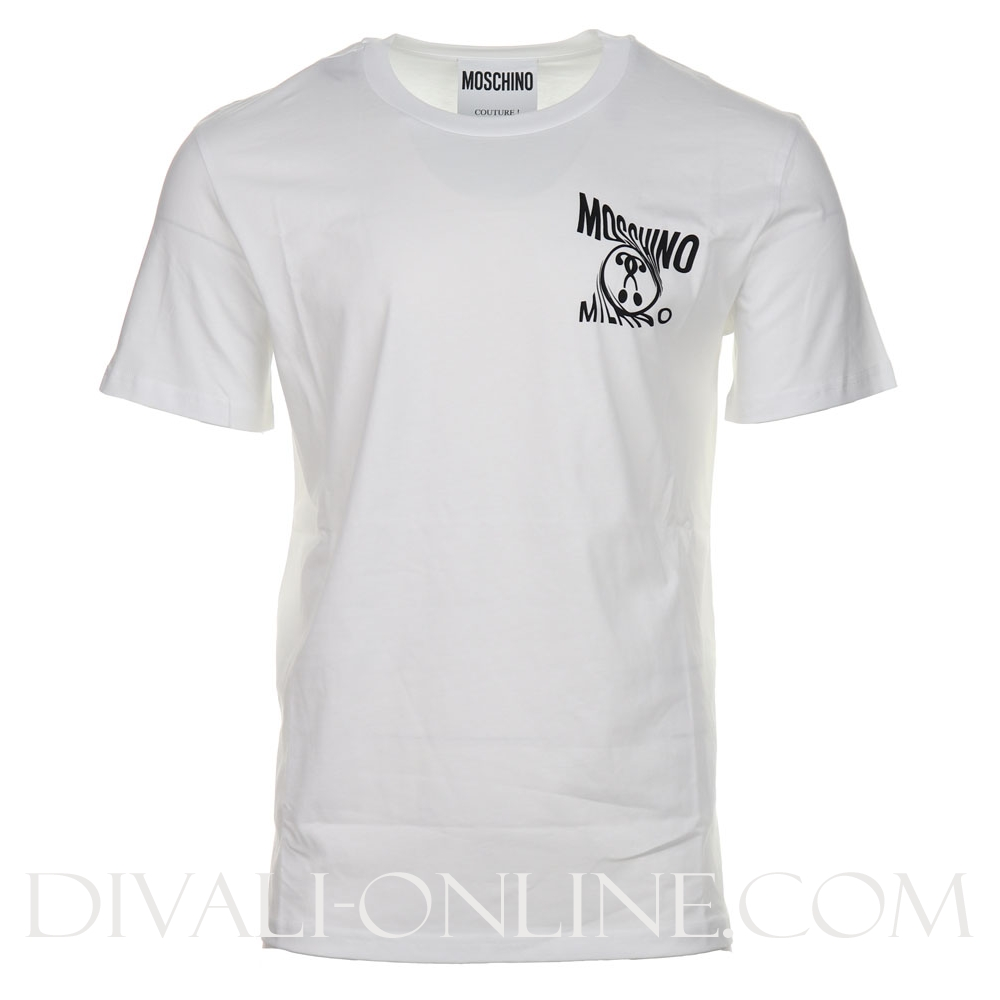 T-shirt Small Double Question mark logo White