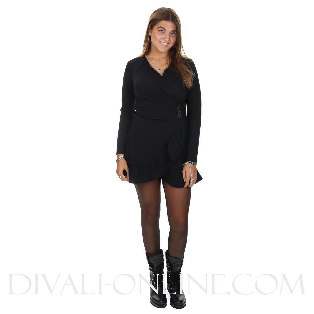 Suzy Button Dress Black