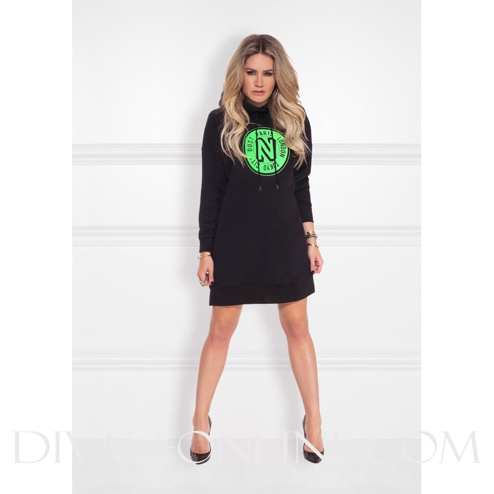 NIKKIE Logo Hoodie Dress Black Jade