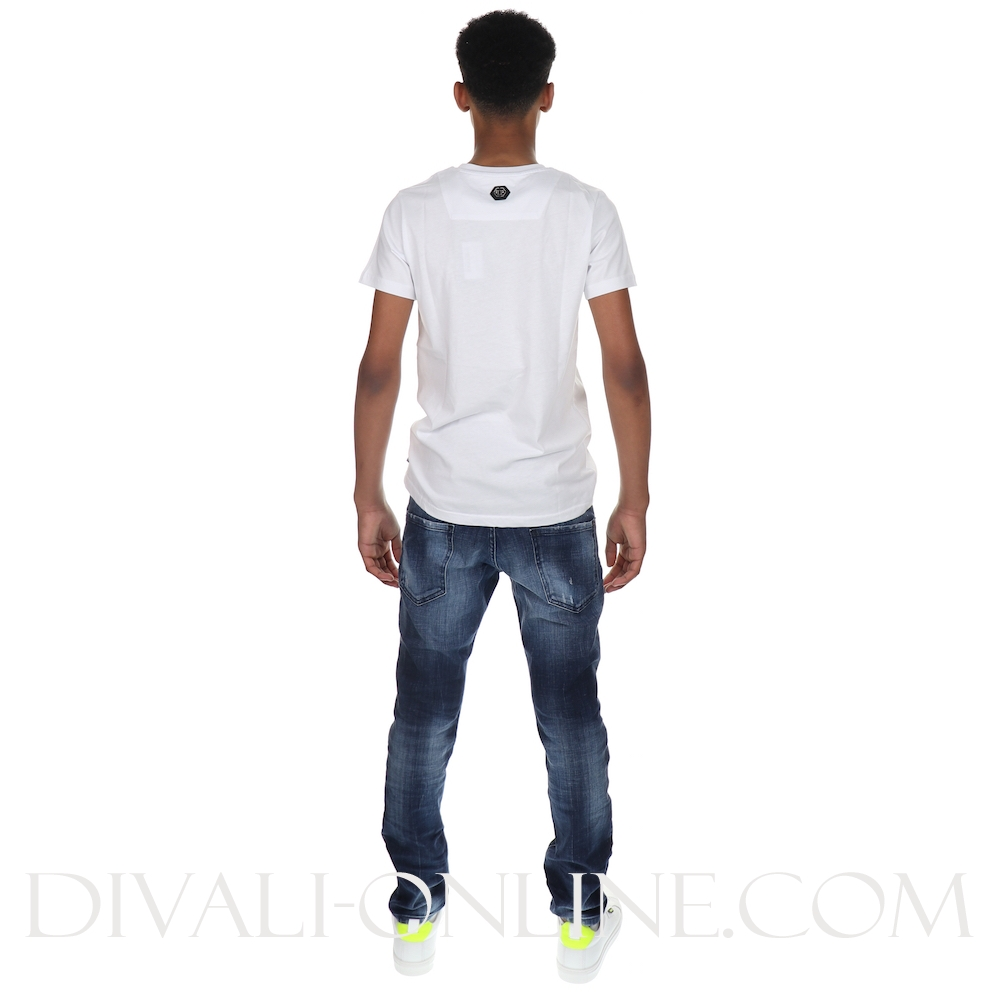 T-shirt Round Neck Ss Skull Crystal White