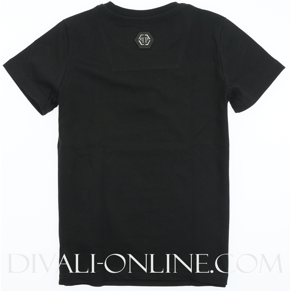 T-shirt Round Neck Ss Skull Crystal Black