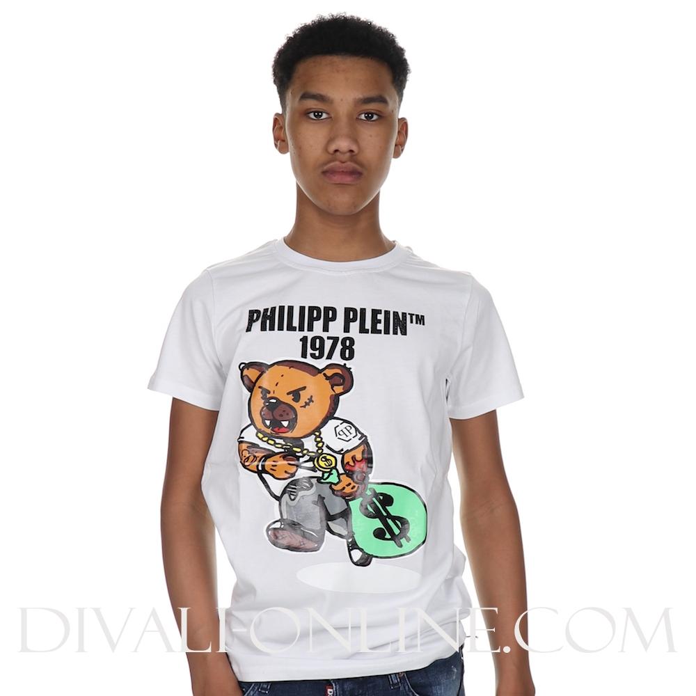 T-shirt Round Neck Ss Teddy Bear White