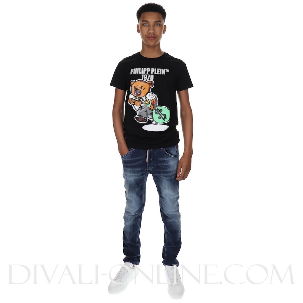 T-shirt Round Neck Ss Teddy Bear Black