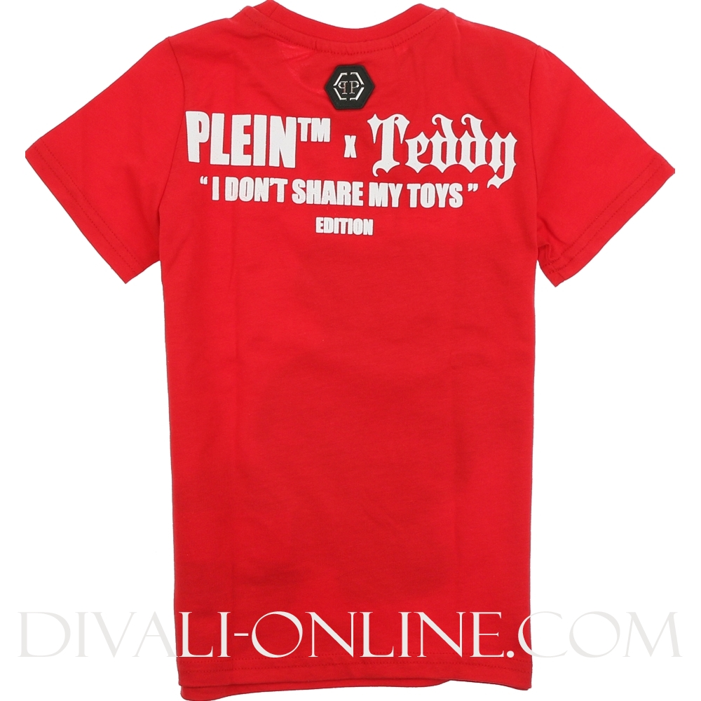 T-shirt Round Neck Ss Teddy Bear Red