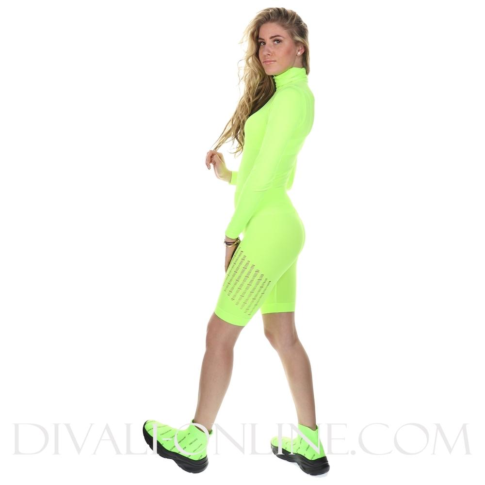 Sport Legging Short Destroyed Neon Green