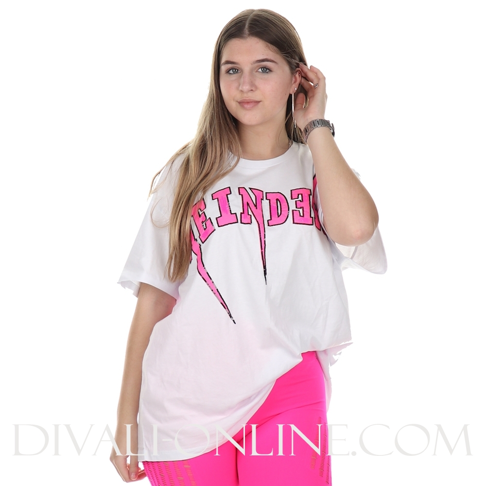 T-shirt Reinders Bolt Oversized White Pink Neon