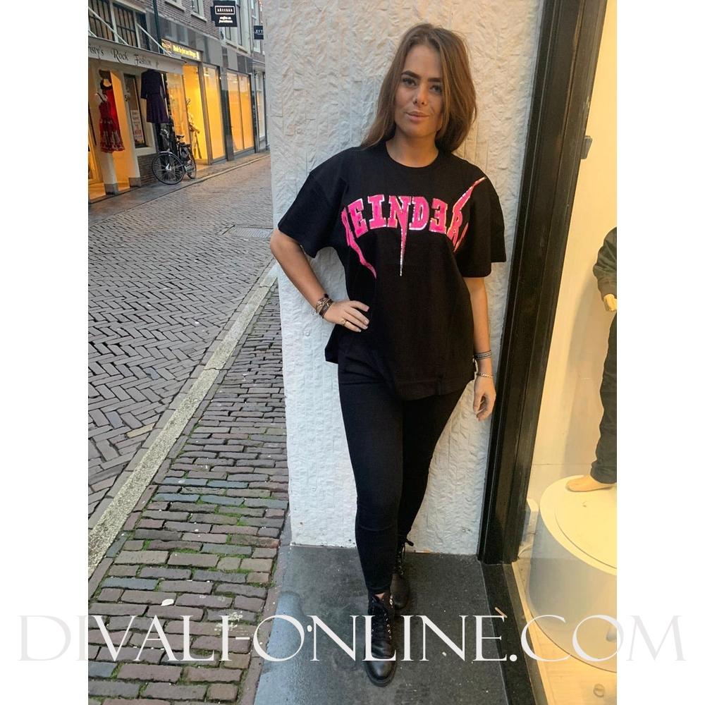 T-shirt Reinders Bolt Oversized True Black Pink Neon