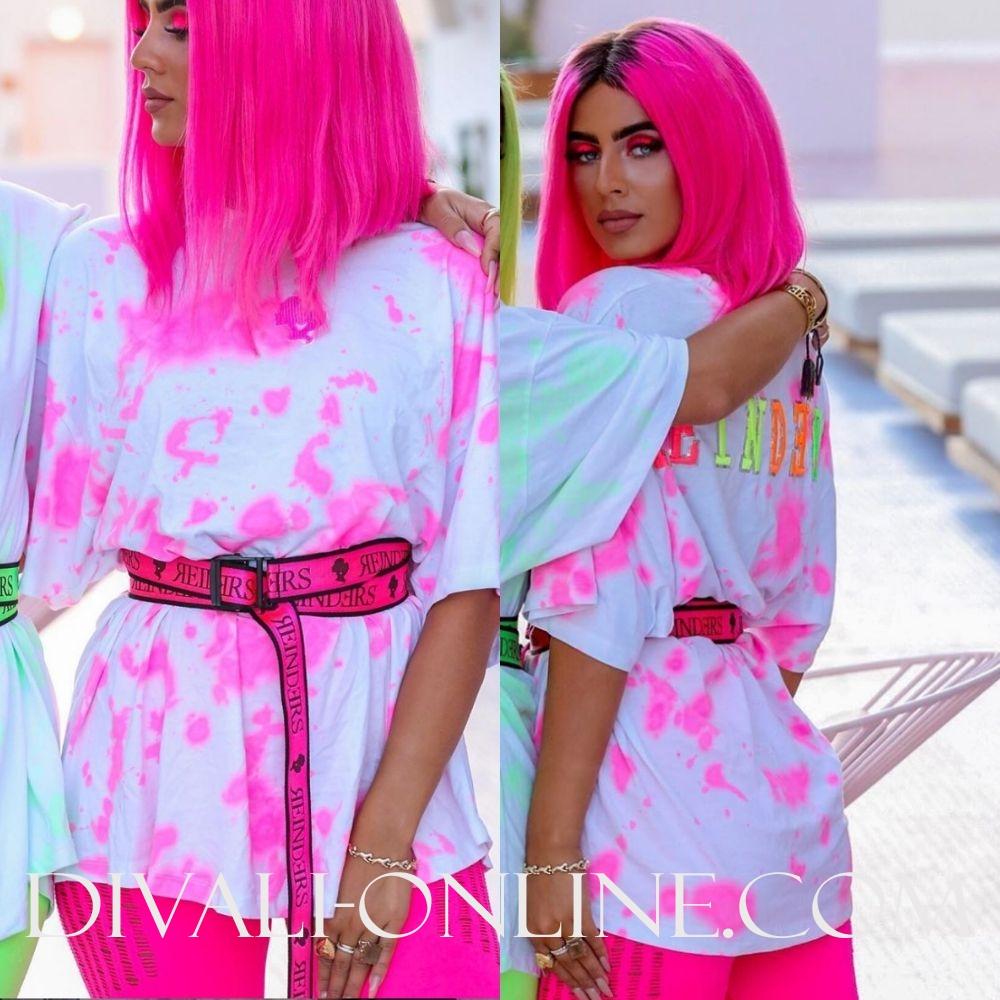 T-shirt Reinders Tie Dye White Pink Neon