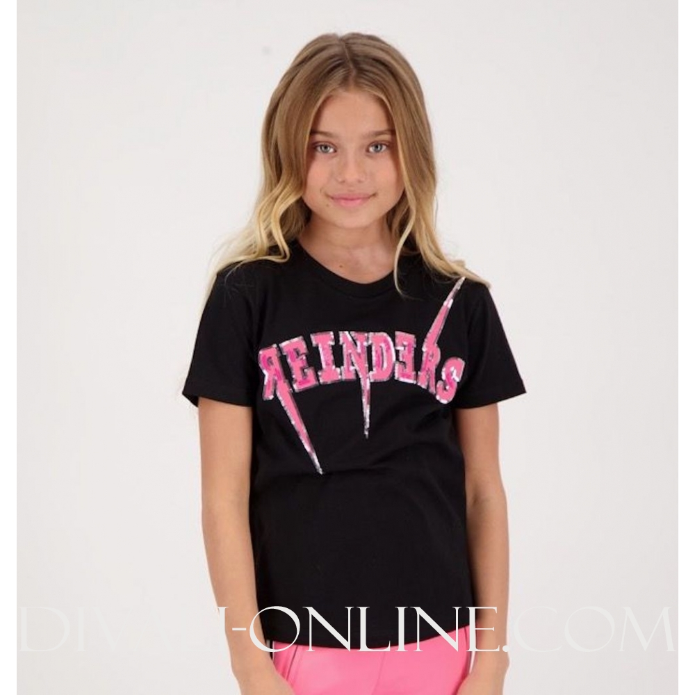 T-SHIRT REINDERS BOLT black pink
