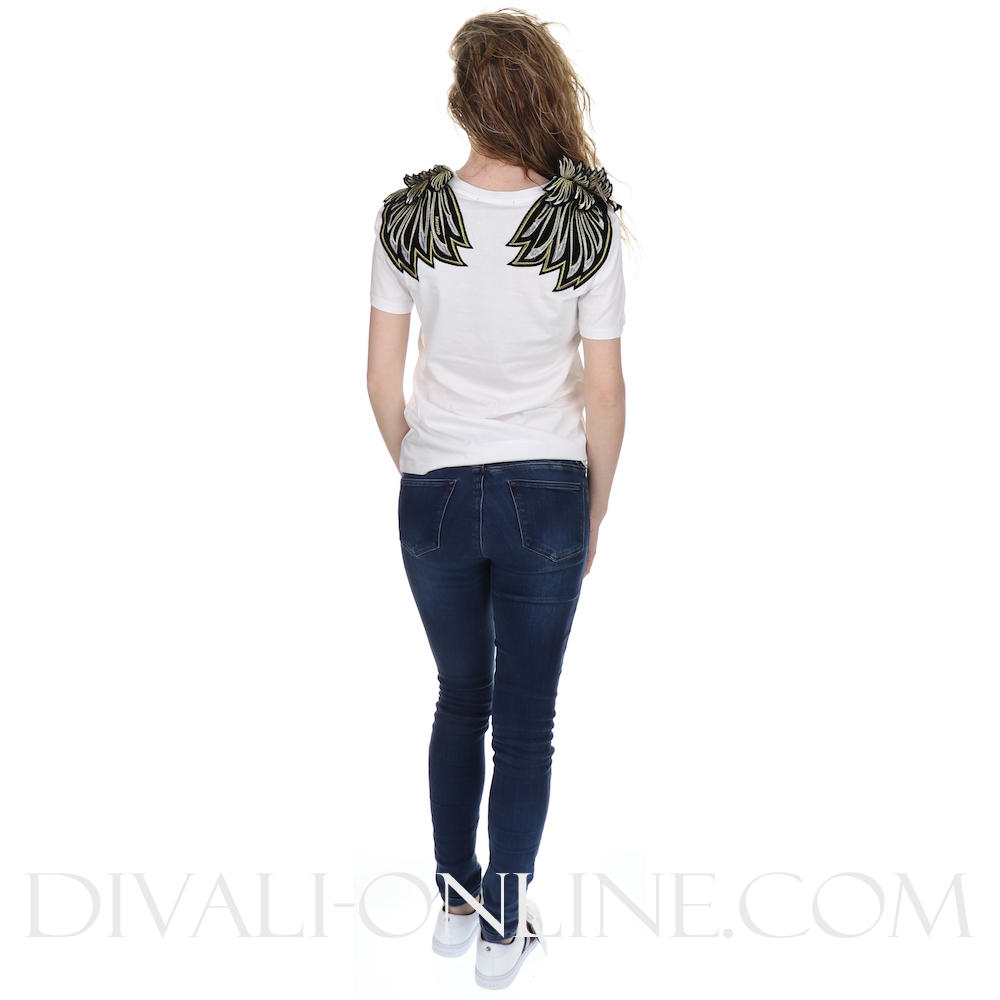T Shirts Golden Wingpatch White