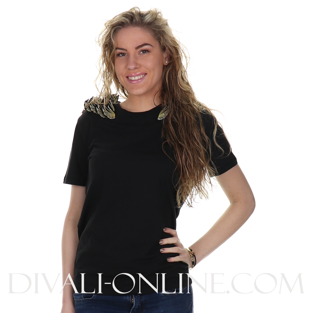 T Shirts Golden Wingpatch Black