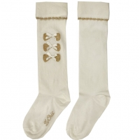 Le Chic Kneesocks With 3 Bows Off White