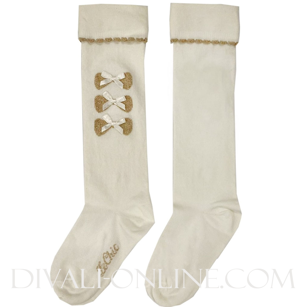 Kneesocks With 3 Bows Off White