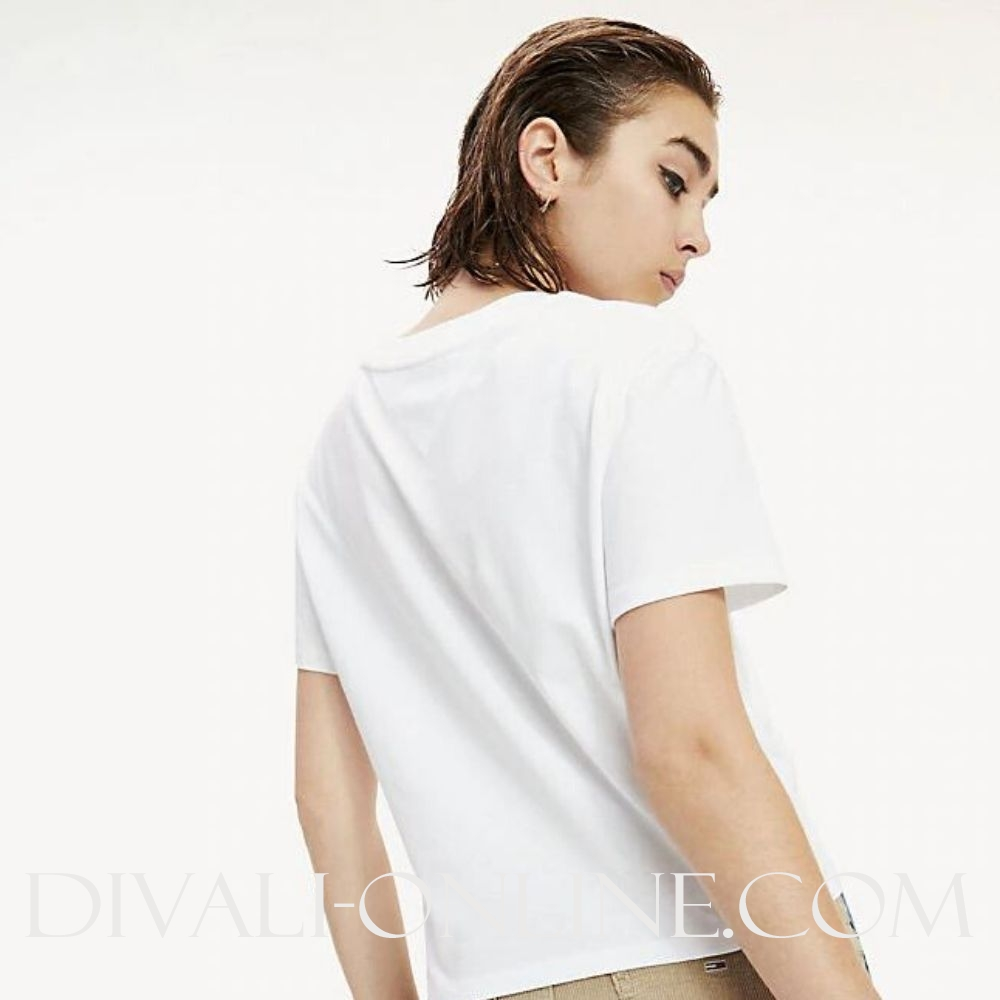Cropped T-shirt Multicolour logo Classic White