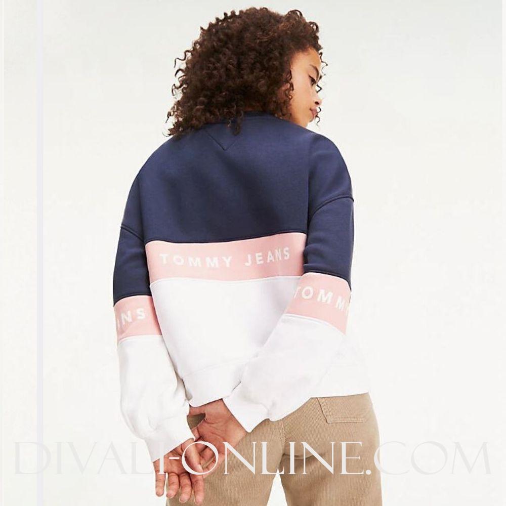 Sweater Colour Blocked Classic White / Multi