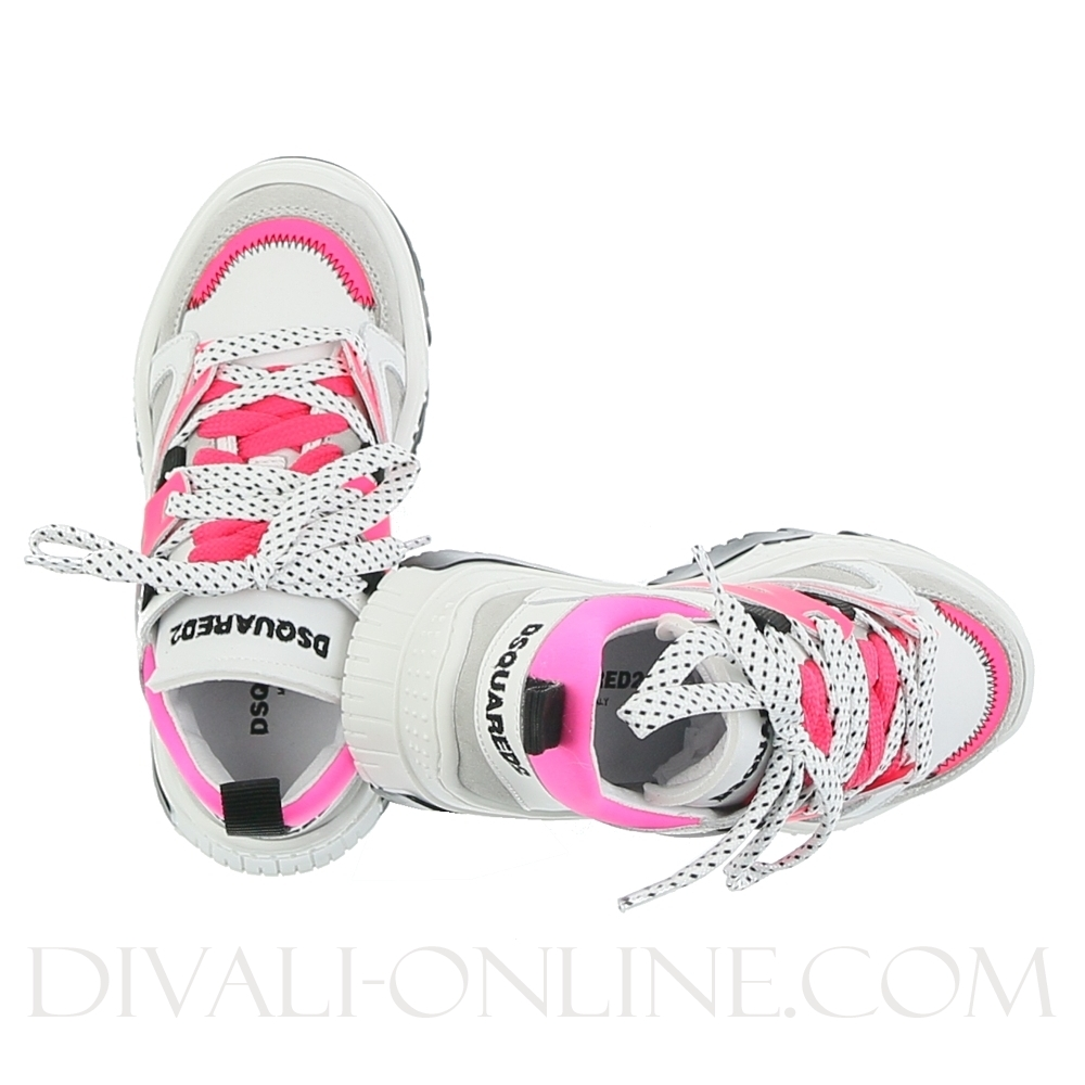 Low Top Chunky Trainers Pearl/white/neon Pink
