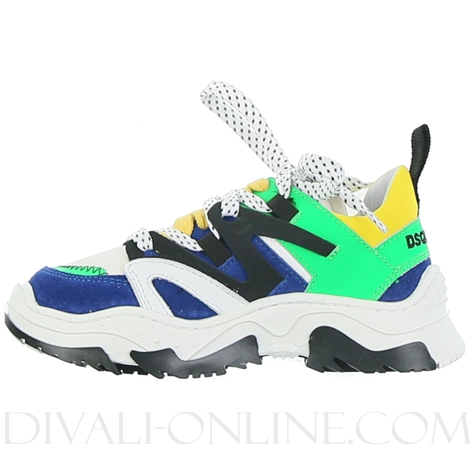 Low Top Chunky Trainers Indigo/white/yellow/neon Green