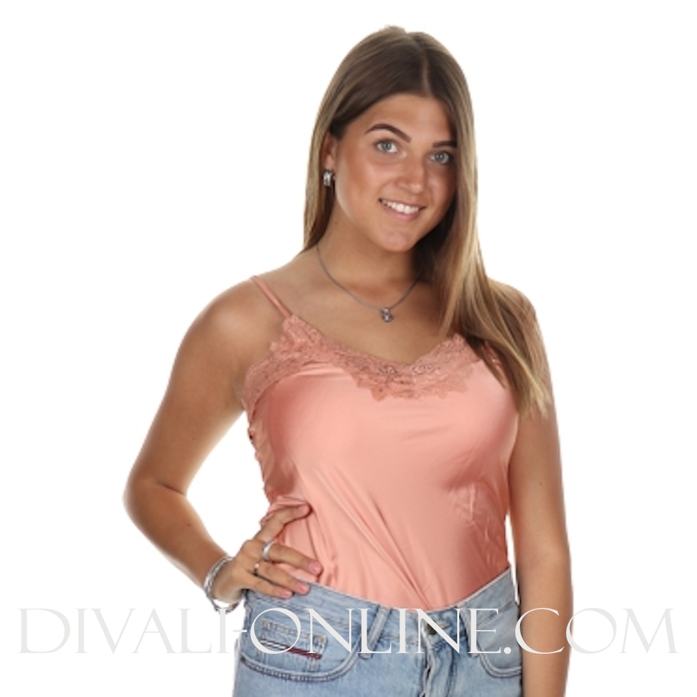 Top Basic Satin Peach