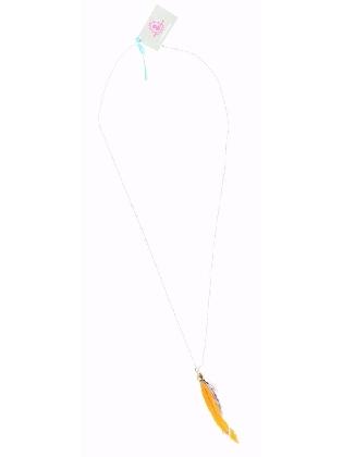 Ketting met licht oranje veer en gekleurde kraaltjes
