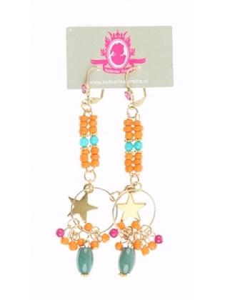 Lange oorbellen met oranje steentjes en goudkleurige ster