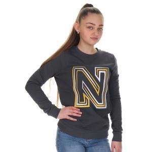 N Logo Embroidery Sweater Warm Grey