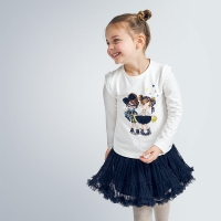 Mayoral Tulle Glitter Skirt           Navy