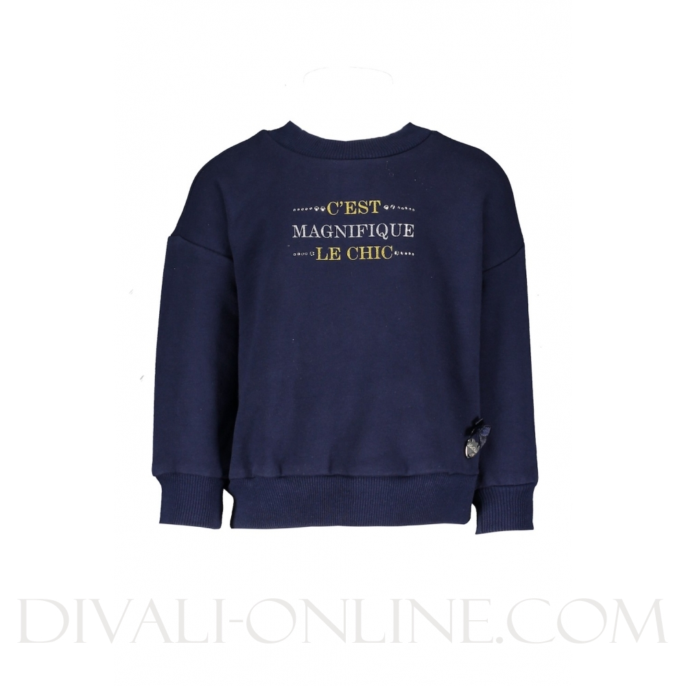 Le Chic trui glitterprint blue navy