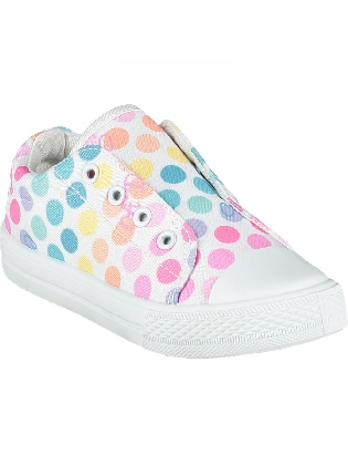 Printed Canvas Trainer Laceless Bright White