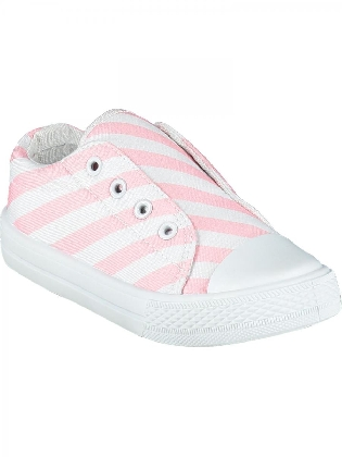 Printed Canvas Trainer Laceless Pale Pink