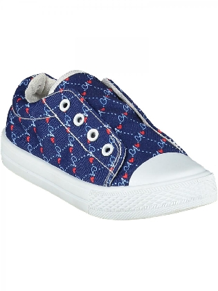 Printed Canvas Trainer Laceless French Navy