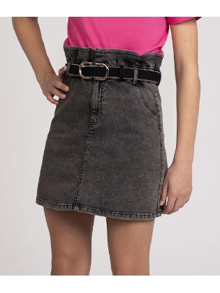 Feline Denim Skirt Grey Denim